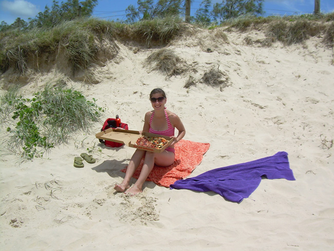 Somar with Pizza on Coolum Beach