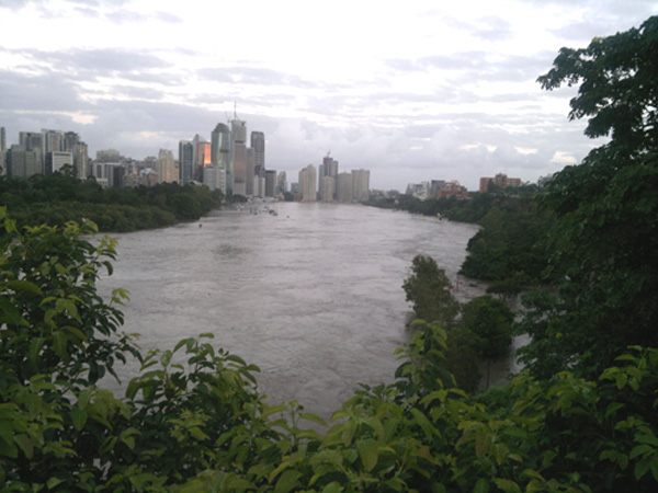 Brisbane City during the flood